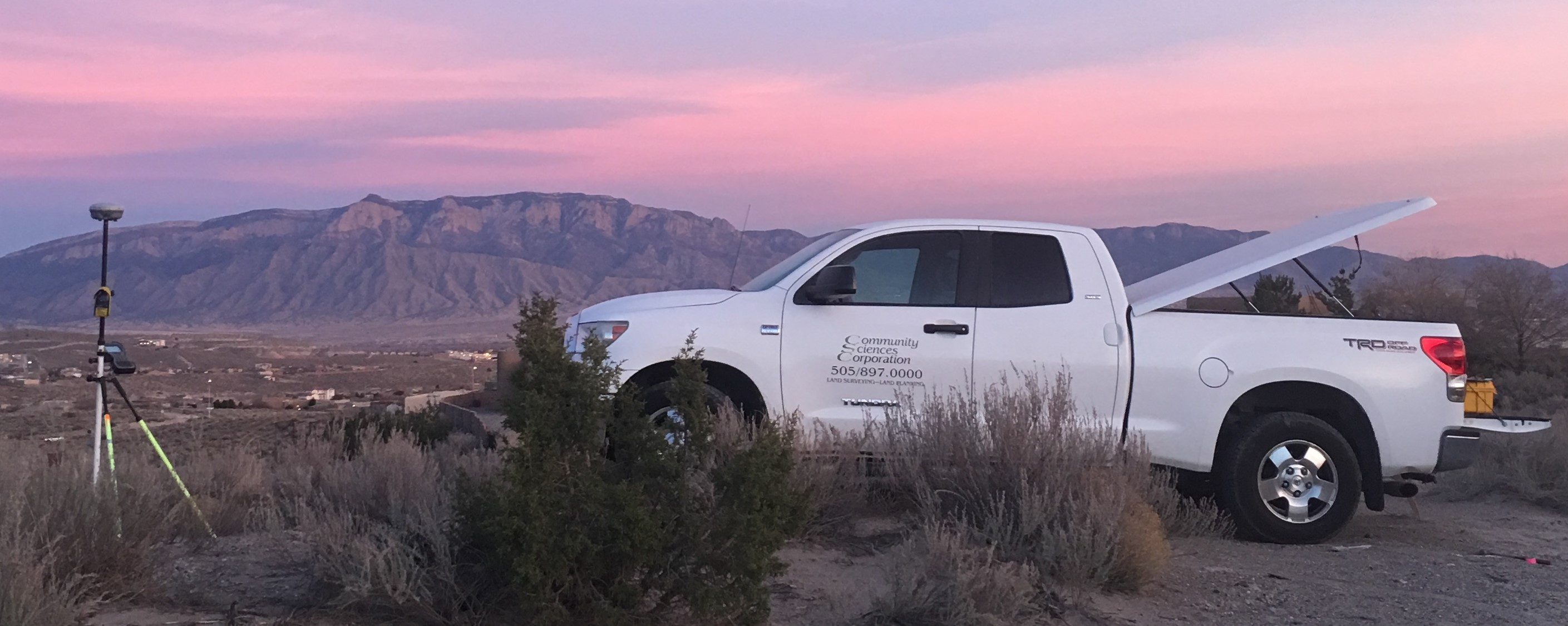 Our truck doing a mortgage survey in New Mexico.